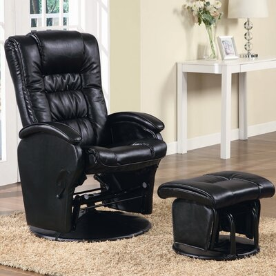Vanceboro Leather Recliner and Ottoman