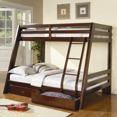 powell monster bedroom twin over full bunk bed with built in ladder