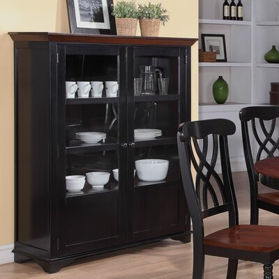 Wildon Home ® Addison Two-Door Display Curio with Glass & Wood Panel Storage Spaces