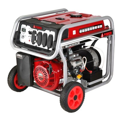 Electric Start 8,250 Watt Portable Gas Generator with Wheel Kit and Battery - SUA8250E