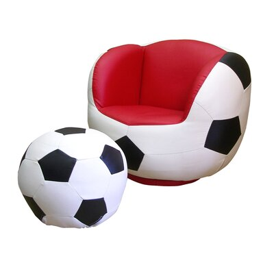 ORE Furniture Soccer Kid's Sports Novelty Chair and Ottoman Set