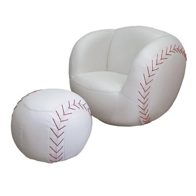 ORE Furniture Baseball Kid's Sports Novlety Chair and Ottoman Set
