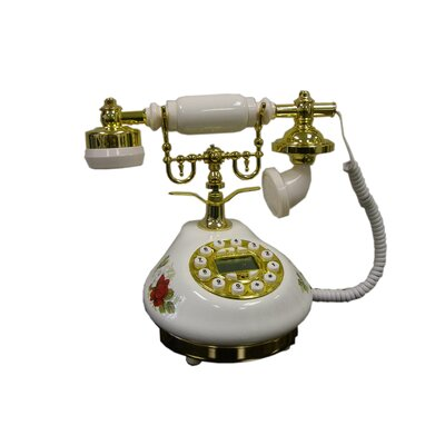 ORE Furniture Classic Telephone with Looped Speaker in White