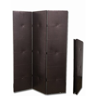 ORE Furniture 3-Panel PU Leather Room Divider in Black