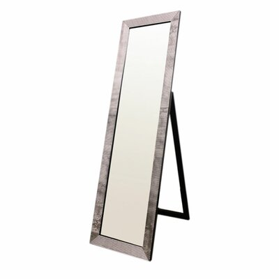 ORE Furniture Rectangular Floor Mirror with Pearl-Like Studs in Black