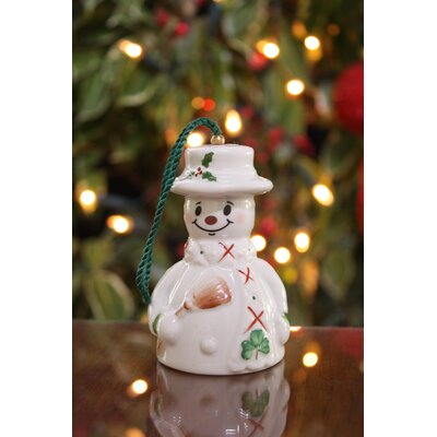 Belleek Snowman with Broom Ornament