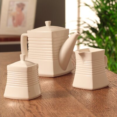 Belleek Solace Teapot, Cream and Sugar Set