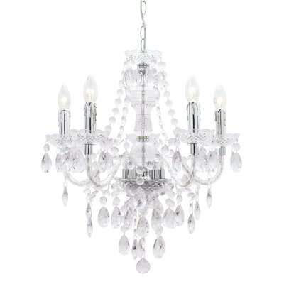Mercator Lighting Olinda Five Light Bohemian Pendant in Chrome / Clear