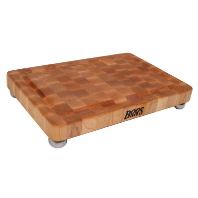 John Boos BoosBlock Maple Cutting Board with Stainless Steel Bun Feet