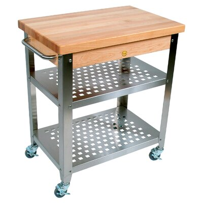 Cucina Americana Rosato Kitchen Cart with Wood Top