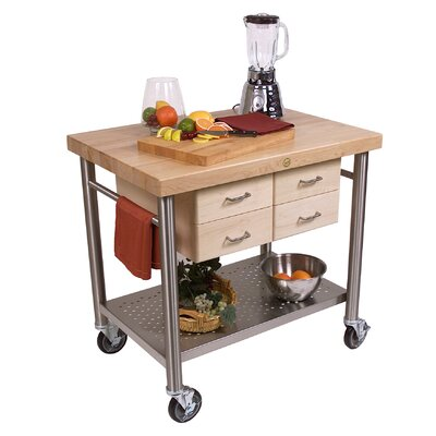 John Boos Cucina Americana Veneto Kitchen Cart with Wood Top