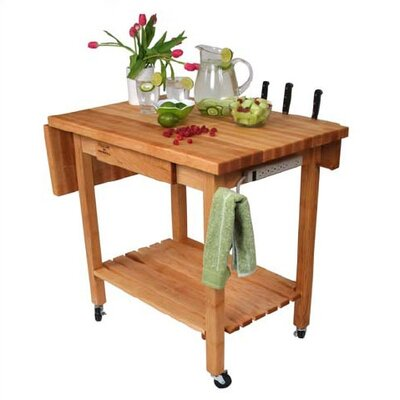 John Boos BoosBlock Deluxe Kitchen Cart with Butcher Block Top