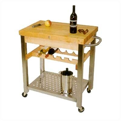 Cucina Americana D'Vino Kitchen Cart with Wood Top