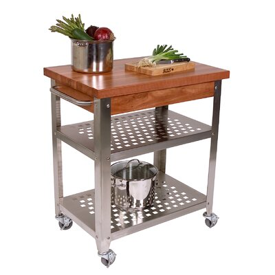 John Boos Cucina Americana Rosato Kitchen Cart with Wood Top