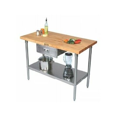 Cucina Americana Prep Table with Wood Top