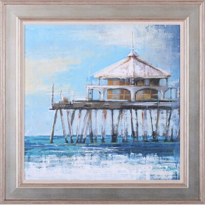 Boardwalk Pier and Lifeguard Tower by Liz Jardine Framed Painting Print