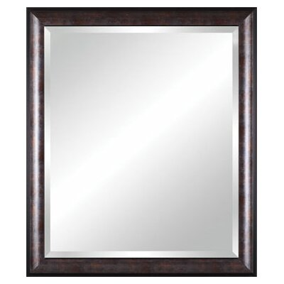 Vanity Beveled Mirror in Distressed Brown Black Silver with Bronze Leaf Lip