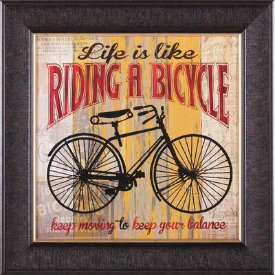 Life Is Like Riding A Bicycle and Full Speed Ahead by Maria Donovan Framed Vintage ...