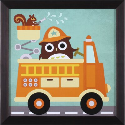 Art Effects Owl in Firetruck and Squirrel Wall Art