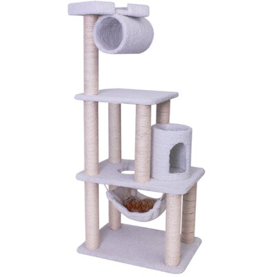 "Majestic Pet Products 62"" Bungalow Sherpa Cat Tree"