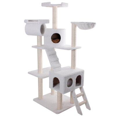 "Majestic Pet Products 73"" Bungalow Sherpa Cat Tree"