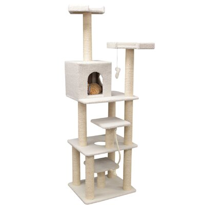 "Majestic Pet Products 78"" Bungalow Sherpa Cat Tree"