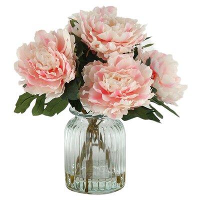 D W Silks Peonies In Ribbed Glass Vase Reviews Wayfair