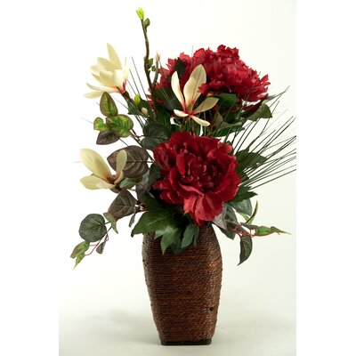 Peonies, Japanese Magnolia and Foliage in Wooden Vase