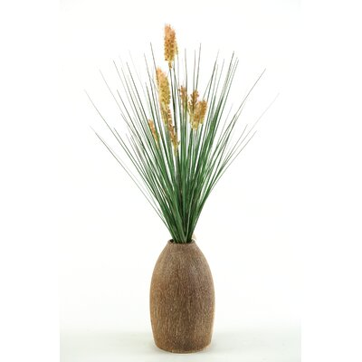 D & W Silks Onion Grass with Dogstail in Tall Ceramic Vase