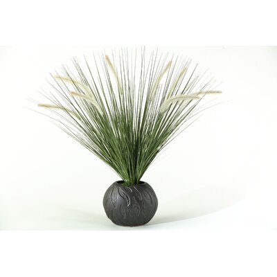 D & W Silks Onion Grass with Dogstail in Ceramic Ball