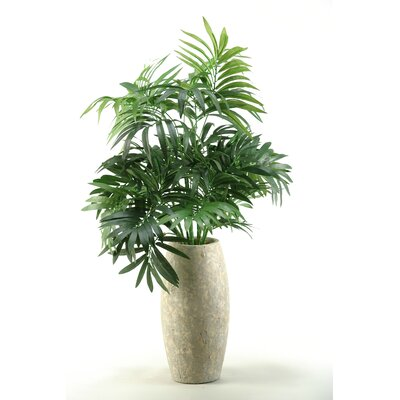 D & W Silks Parlor Palm in Ceramic Vase