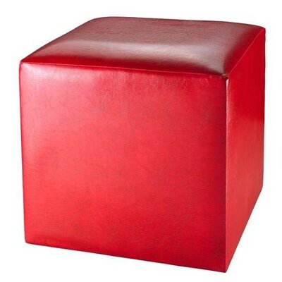 Simply Home Leatherette Ottoman in Red