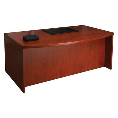 Mayline Group Mira Series Wood Veneer Bow Front Executive Desk