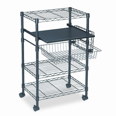 Mayline Group Multipurposeose Wire Cart, Three Shelves, 23-1/2 x 15 x 37-1/2, Black
