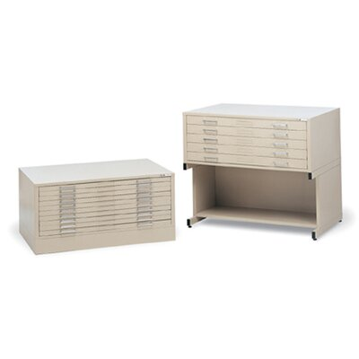 Mayline Group C-File: Five-Drawer Flat File with Optional Bookshelf Base