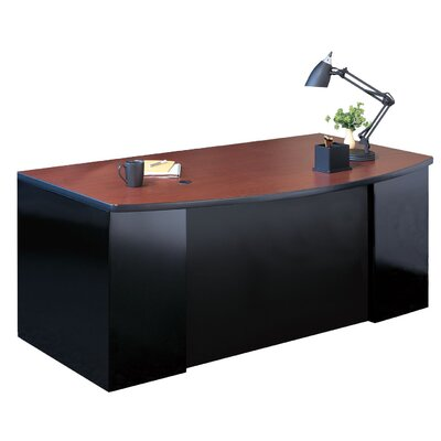 Mayline Group Bow Front Desk with 1 Box / Box / File Pedestal