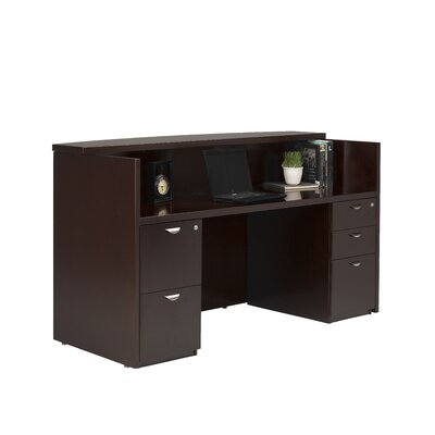 Mayline Group Mira Reception Station with File Pedestals Cabinets