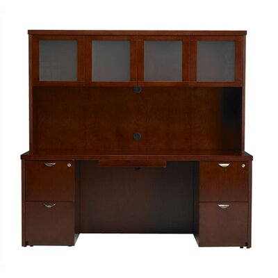 "Mayline Group Mira 70"" Hutch with Frosted Glass Doors"