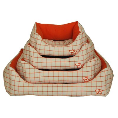 Orange Checker Bolster Dog Bed
