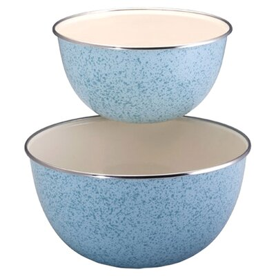 2 Piece Enamel on Steel Mixing Bowl Set in Blue