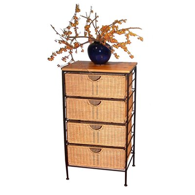 4D Concepts Wicker 4 Drawer Stand