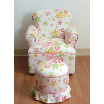 High Back Kid's Chair and Ottoman Set