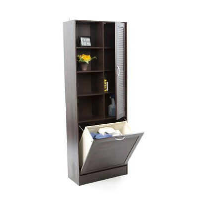 4D Concepts Louver Storage Tower with Four Adjustable Shelves in Espresso