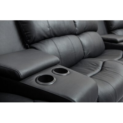 My Suite Home Leather 4 Seater Home Theatre Entertainment Lounge Suite with 4 Recliner