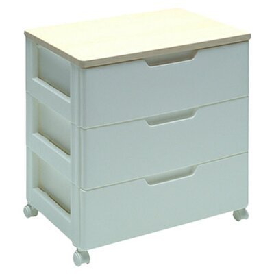 Iris Premium Drawer Storage Series High Grade 3 Drawer Chest in White with Natural Wood Top