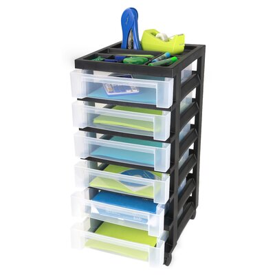 Iris Medium Cart with 6 Clear Drawers with Organizer Top - Black