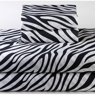 Dreamy Linens 200 Thread Count Zebra Black Sheet Set