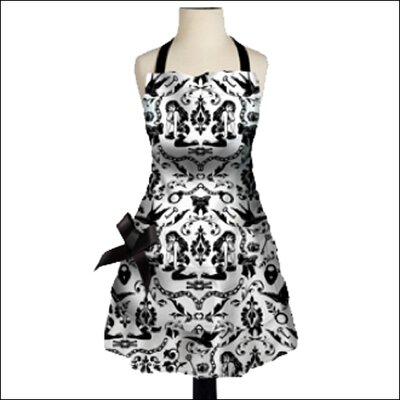 Sin In Linen Ravens Dream Apron in Black and White