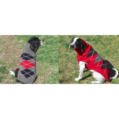 Chilly Dog Red Classic Argyle Dog Sweater