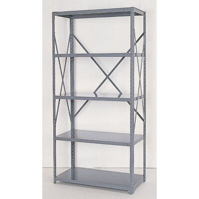 Republic Industrial Clip Open Shelving: Angle Post Units with 5 Shelf Frames - Starter Unit